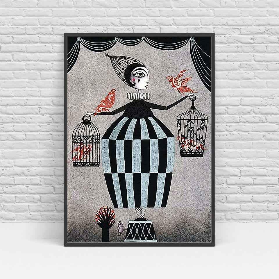 Cartel nórdico princesa bruja impresión pared lienzo imagen para niños habitación arte decoración lienzo arte envío gratis