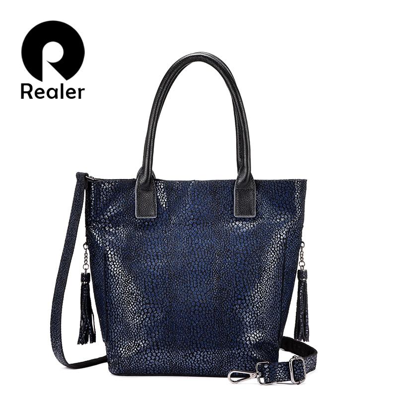 Realer النساء حقيبة كتف جودة عالية حقيقية أزياء والجلود حقيبة يد للسيدات الفاخرة عبر الجسم حقيبة ساعي تصميم الإناث-في حقائب الكتف من حقائب وأمتعة على  مجموعة 1