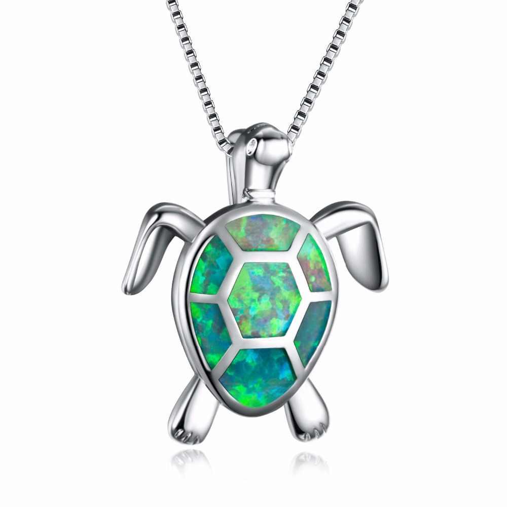 Мода 925 Стерлинговое серебро зеленый огненный опал кулоны-черепахи и подвески ювелирные изделия для животных Женские подарки