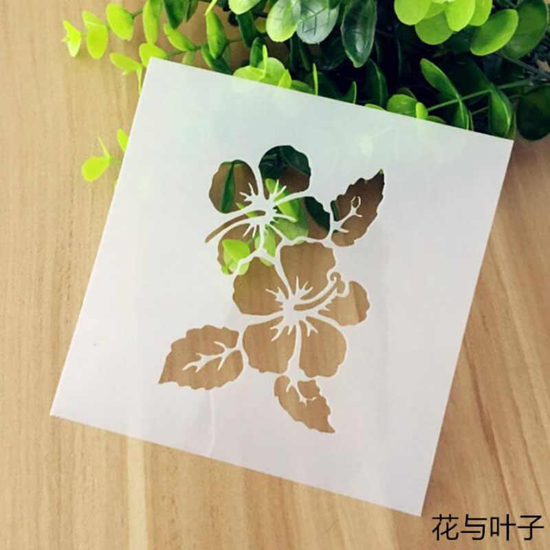 Sablon Yeniden Kullanilabilir Cicek Yaprak Boyama Ici Bos Sablon
