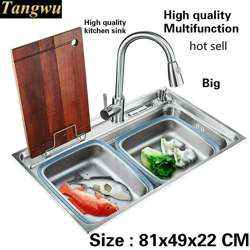 Tangwu пищевой 304 нержавеющая сталь раковина большой один паз фитинги полная Мода Кухня 810x490x220 мм