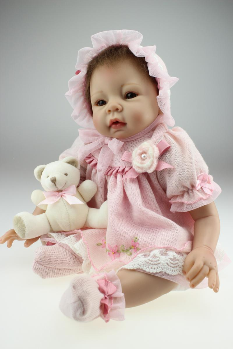 Silicone reborn baby boy doll toys about 55cm cotton body for girl baby brinquedods for kids toys with Christmas gift new design about a boy