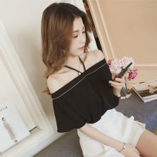 Chiffon Womens Tops And Blouses Sexy Off Shoulder Top Summer Casual Ladies Halter Blouse