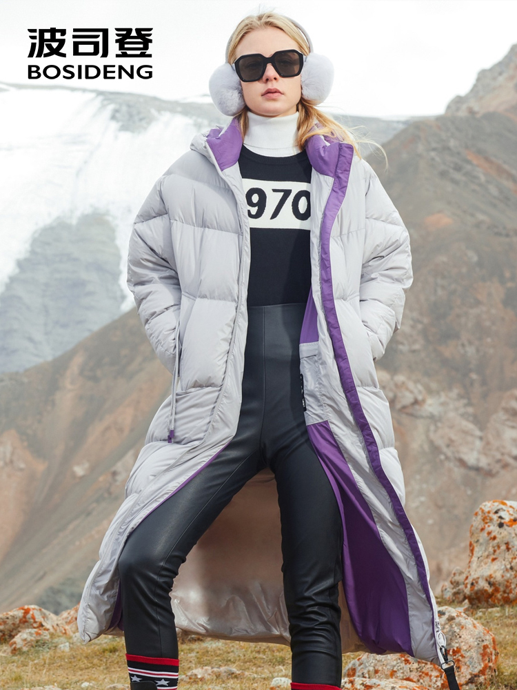 BOSIDENG PUFF collection women thick white goose   down     coat   X-long goose   down   parka hooded outwear puffer waterproof B80141112