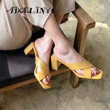 AIKELINYU High Quality Cowhide Sandals Slip-On Party Hot Sale Shallow Shoes Silvery Square Heel Concise New Lady Slipper