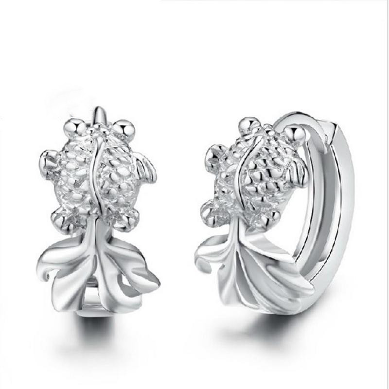 Everoyal Trendy 925 Sterling Silver Earrings For Women Jewelry Cute Fish Hoop Girls Party Accessories Female