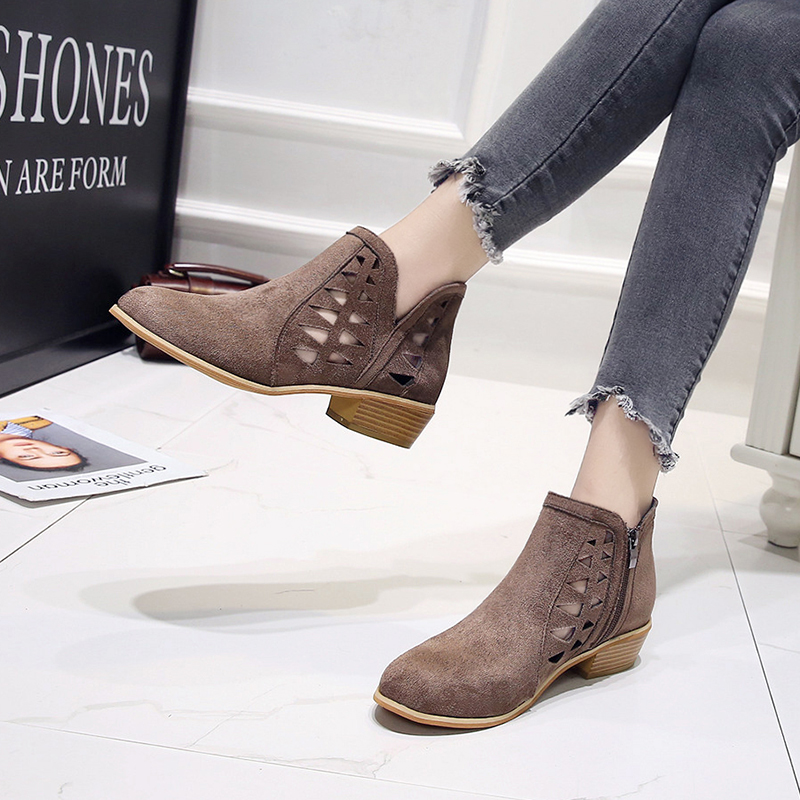Rimocy 2019 spring hollow out single shoes woman faux suede round toe square heels pumps women 4cm med heels casual shoes femme 38