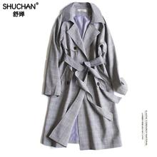 Shuchan Plaid Long Trench Coat 75% Cotton Autumn Spring Womens 2019 Fashions Double Breasted Casual Z-7647