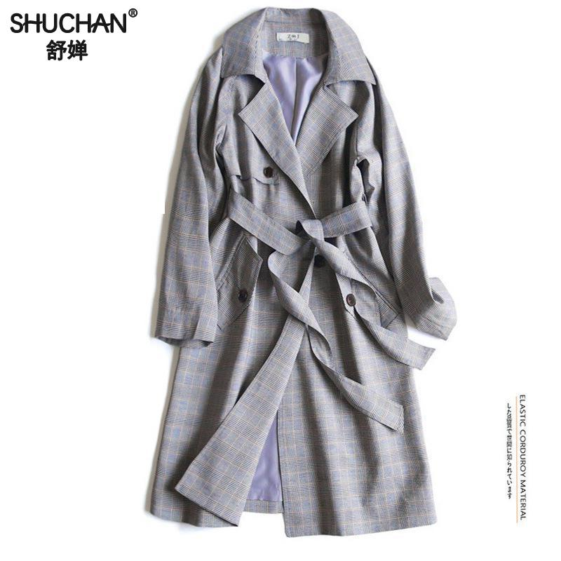 Shuchan Plaid Long   Trench   Coat 75% Cotton Autumn Spring Women's Coat Womens 2019 Spring Fashions Double Breasted Casual Z-7647