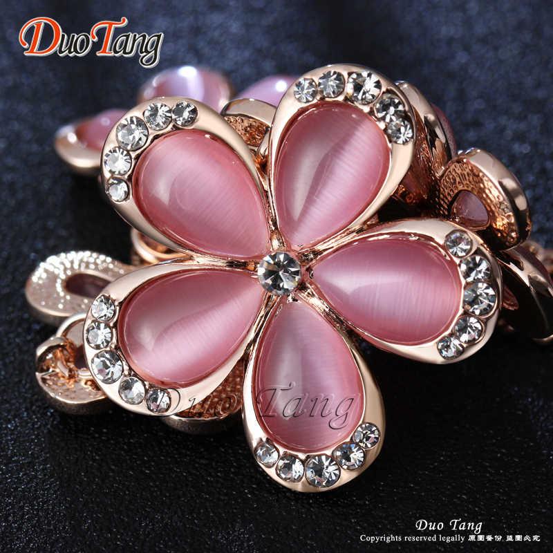 DuoTang цветок кулон ожерелья цинковый сплав розовый опал Стразы звено цепи Чокеры ожерелья для женщин ювелирные изделия X0045