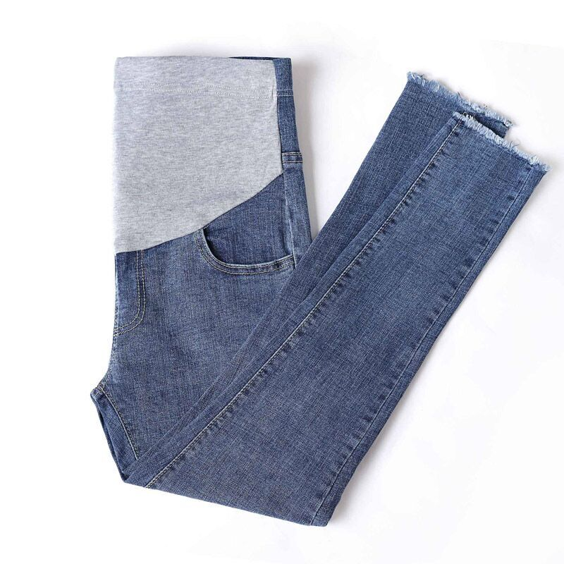 2018 winter denim maternity jeans plus elastic waist long trousers pants for pregnant women pregnancy clothes ropa black white high waist jeans for women new hole pantalones vaqueros mujer all match solid trousers female plus size denim pants
