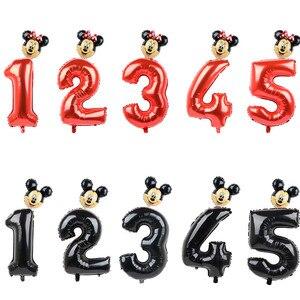 Image 1 - FUDANL 32Inch Màu Đỏ Đen Số Bóng Bay Mickey Minnie Đầu Bóng Hình 1 2 3 4 5 Năm Trẻ Em cậu Bé Gái Sinh Nhật Trang Trí