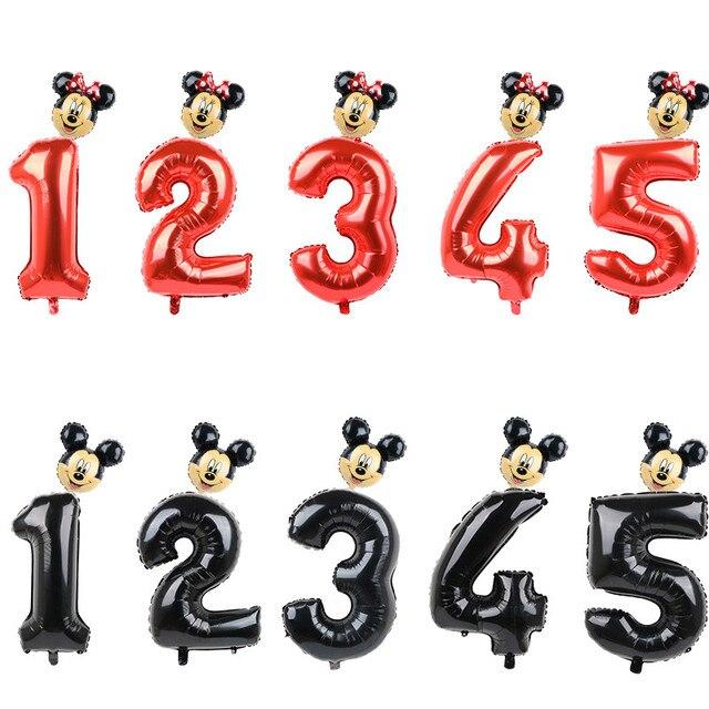 FUDANL 32Inch Màu Đỏ Đen Số Bóng Bay Mickey Minnie Đầu Bóng Hình 1 2 3 4 5 Năm Trẻ Em cậu Bé Gái Sinh Nhật Trang Trí