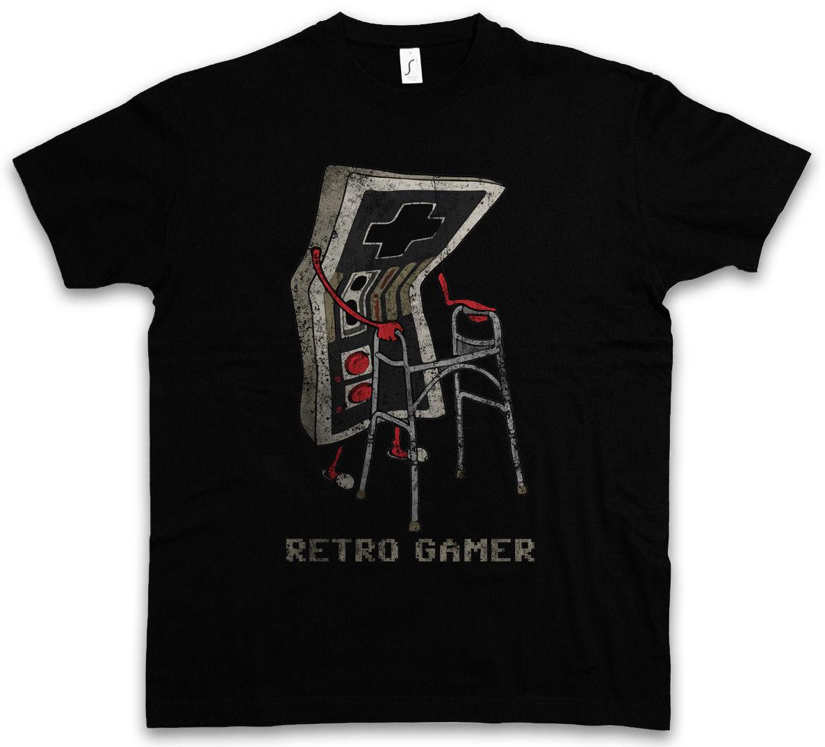 Short sleeve t shirt RETRO GAMER T-SHIRT Gaming Admin PC Fun Shirt Grandfather Opa Geek Nerd Freak