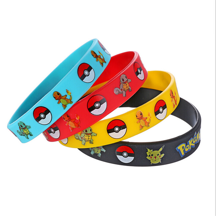 40pcs/lot Trendy Charms Game Wristband Pokemon GO Silicon Bracelets For Women Team Bangles 2017 Red Black Rubber Bracelets Kids