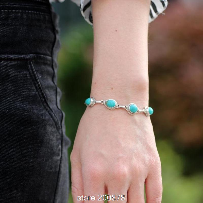 T9129 Nepal 925 Silver inlaid natural Turkey Stone vintage bracelets Tibetan Bracelets Free Shipping