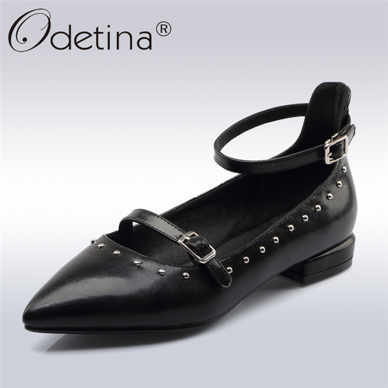 Odetina 2018 New Fashion Pointed Toe Pumps For Women Ankle Strap Rivet Casual Shoes Ladies Buckle Square Low Heels Pump Shoes odetina 2017 new summer women ankle strap ballet flats buckle hollow out flat shoes pointed toe ladies comfortable casual shoes