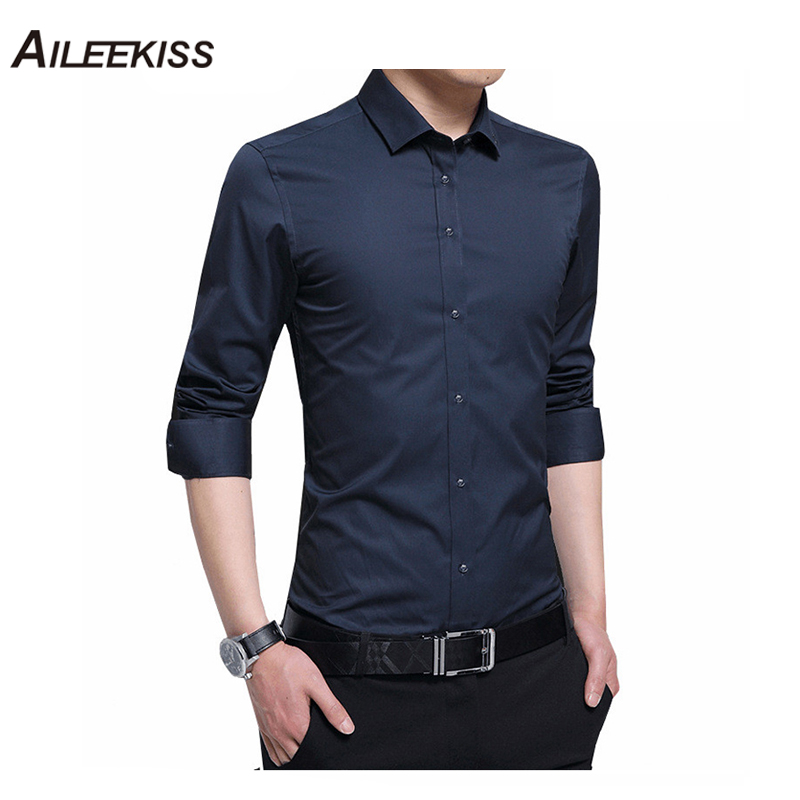 2019 New Arrive Men 5XL Dress Solid Male Work Shirts Brand Long Sleeved White Mens Shirts Casual Camisa Masculina Slim Fit XT446