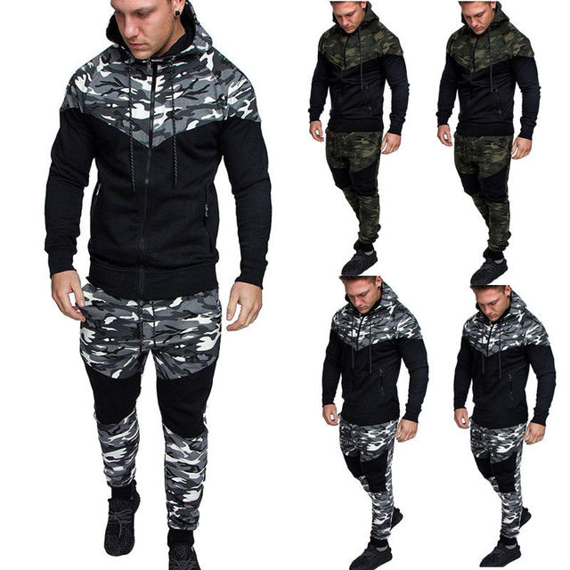 5d8e73dc6cc4 New Mens Camouflage Army Hooded Long Pants Sets Tracksuit Full Set Hoodie  Bottoms Joggers Sweatshirt Set