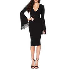 INDRESSME Casual Full Sleeve Solid Tassel Autumn Women Bandage Dress Sexy Deep V Midi Bodycon Women Dress Vestidos  2017 New
