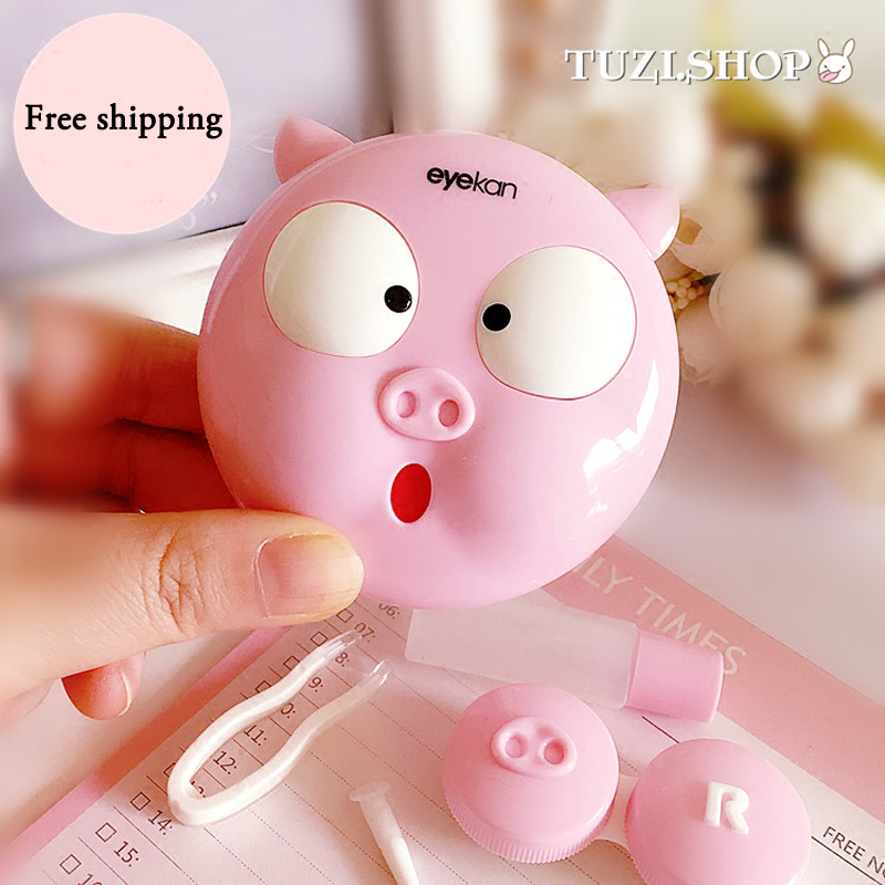 Cute Pig Contact Lenses Box Eyeglass Case For Women Contact Lens Case Christmas Gift For Girls Lens Container Glasses Box