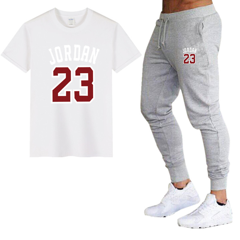 New informal go well with males's summer season high quality couple sportswear cotton printing Jordan 23 T shirt + trousers two-piece style clothes T-Shirts, Low cost T-Shirts, New informal...