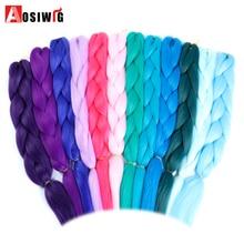 AOSIWIG 24inch Jumbo Braids Синтетические волосы Kanekalon для волос Ombre Braiding Hair Crochet Braids TpinkTpurple 100g / pack