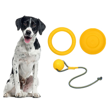 3Pcs/set Amphibious Dog Toys Indestructible Ball With Rope Flying Discs Chew Toy Ring EVA Pet For dogs Interactive Balls
