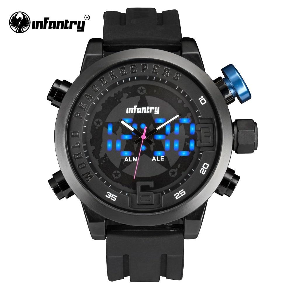 INFANTRY Military Watch Men LED Digital Quartz Mens Watches Top Brand Luxury Big Aviator Army Black Silicone Relogio Masculino все цены