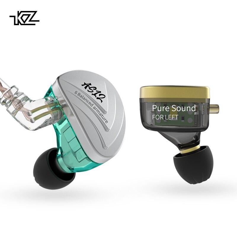 New KZ AS12 Earphones 12BA Balanced Armature Drives HIFI Bass Headphones In Ear Monitor Headset Noise