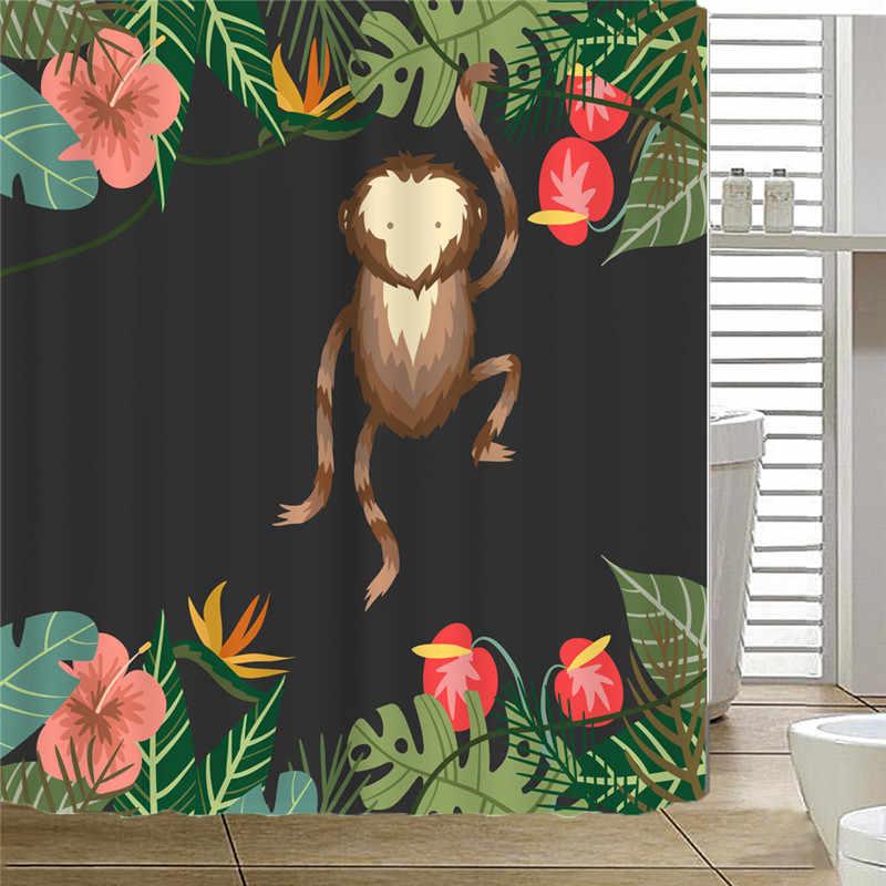 Животный узор занавеска для душа Милая Обезьяна стиль ванная душевая занавеска перегородка цифровая печать