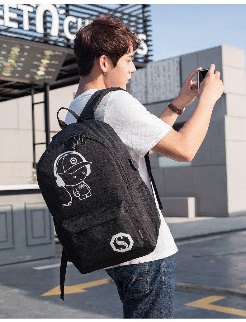 Anime luminosa estudante escola mochila para menino