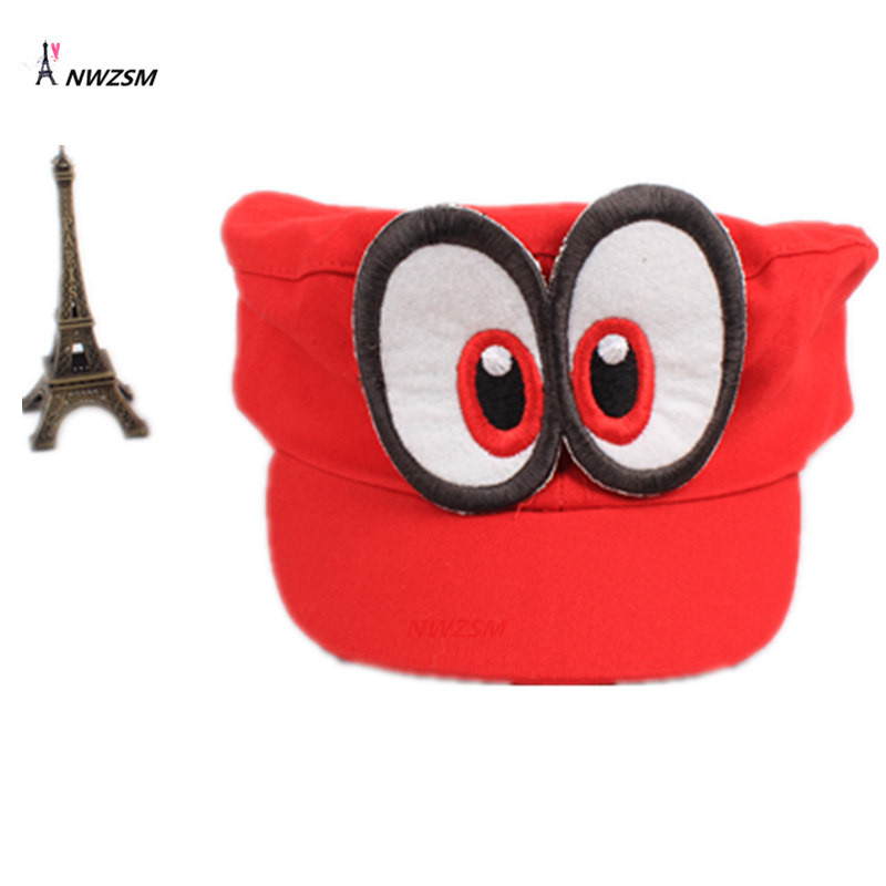 Wholesale 50 PCS Game Super Mario Odyssey Hat Adult Kids Anime Cosplay Adjustable  Cap Handmade free shipping