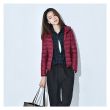 Simple and fresh white duck down warm Winter womens jacket autumn winter hooded slim short Womens clothing