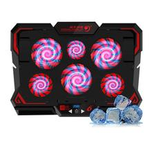 12-17inch Gaming Laptop Cooler 6 Fans Led Screen Button Two USB Port  Cooling Pad Notebook Stand for