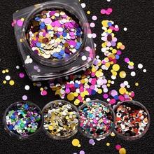 1 Box Ultrathin Nail Glitter Sequins Mix Round 3D Nail Art Decoration UV Gel Tips Manicure DIY nail art decorations