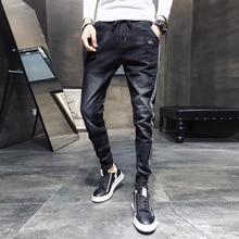 أسود جينز غير رسمي الرجال الجانب مخطط غسلها الرباط سراويل جينز ذكر 2020 جديد سليم صالح تمتد سروال شكل قلم رصاص رجل