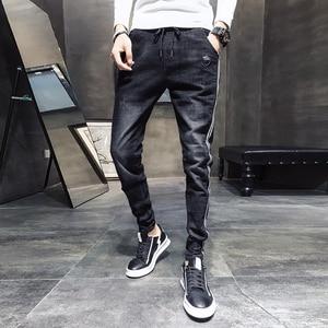 Image 1 - שחור מזדמן ג ינס גברים צד פסים שטף שרוך ג ינס מכנסיים זכר 2020 חדש Slim Fit למתוח מכנסי עיפרון איש