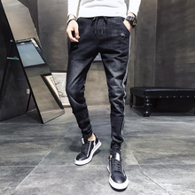 Black Casual Jeans Men Side Striped Washed Drawstring Denim Trousers Male 2020 New Slim Fit Stretch Pencil Pants Man