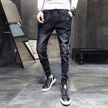 Preto casual calças de brim dos homens lado listrado lavado drawstring denim calças masculinas 2020 novo ajuste fino estiramento lápis calças homem