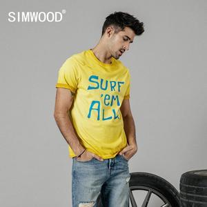 Image 1 - SIMWOOD 2020 yaz yeni t gömlek erkekler vintage % 100% pamuk moda mektubu baskı t shirt yüksek kalite üstleri marka giyim 190196
