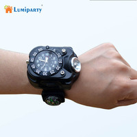 Lumiparty 3in1 Super Bright LED Watch Flashlight Torch Lights Compass Outdoor Sports Rechargeable Mens Wrist Watch