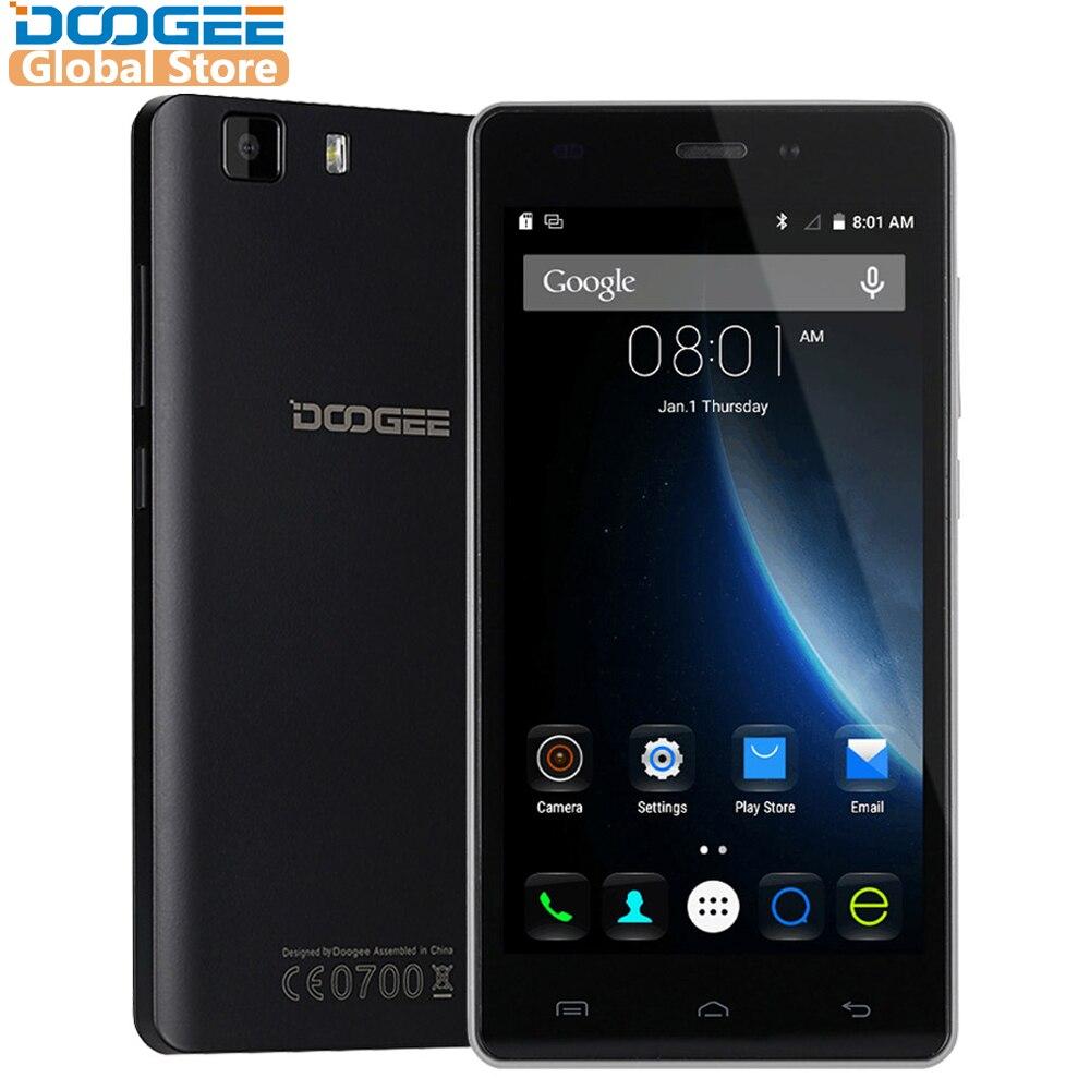 Original DOOGEE X5 teléfonos móviles 5,0 InchHD 1 GB RAM 8 GB ROM Android 5,1 Dual SIM MT6580 Quad core 1,0 GHz 2400 mAh WCDMA WIFI