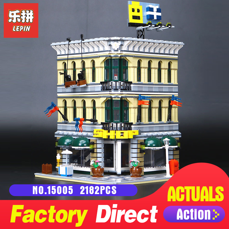 2182Pcs Lepin 15005 City Grand Emporium Model Building Blocks Kits Brick Toy Compatible Educational LegoING 10211 Children Gift