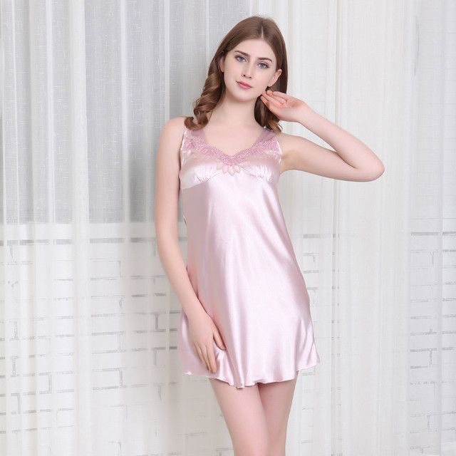 Women Soft Silk Lingerie Sleep Dress Babydoll Sleeveless Nightdress Sexy Sleepwear  Mini Nightwear Dress Plus Size 98f5deceb