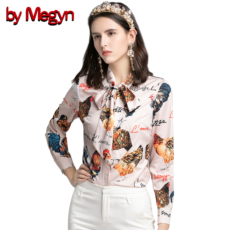 by Megyn women blouses 2019 rooster print blouse office bow tie blouse chicken rooster letter print