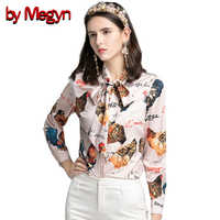 by Megyn women blouses 2019 rooster print blouse office bow tie blouse chicken rooster letter print kawaii blouse women tops
