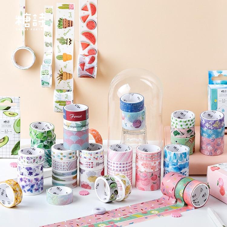 3pcs/pack Kawaii Floral Washi Tape Set Decorative Plant Leaves Planet Tape Paper Label Masking Sticker Tape