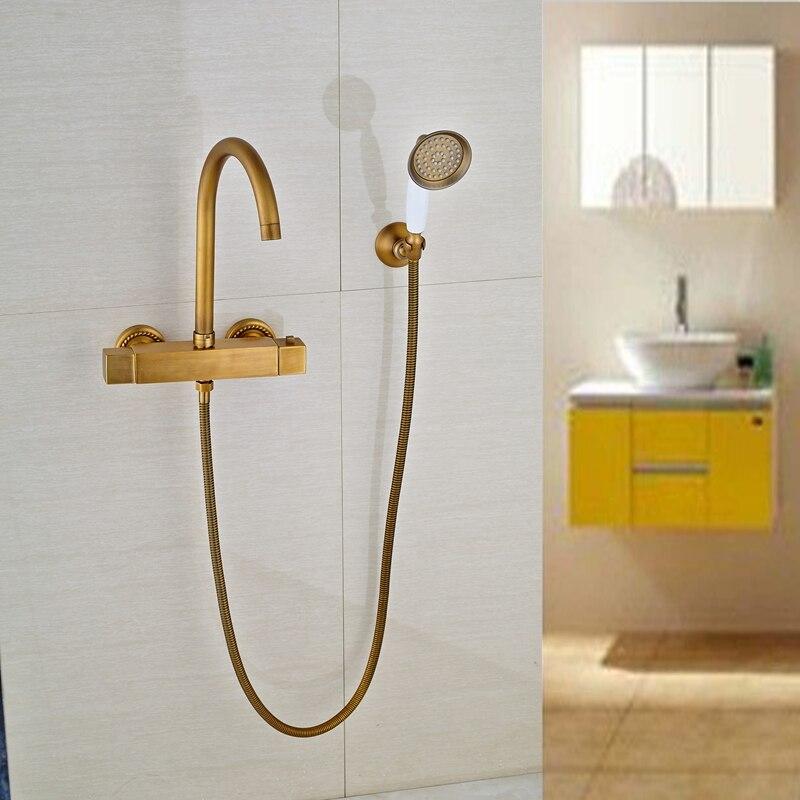 Copper Dual Handle Thermostatic Faucet Bath Brass: Dual Handles Antique Brass Thermostatic Shower Faucet