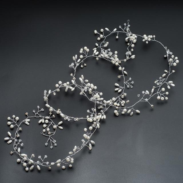 Handmade 100CM Length Gold and Silver Flower Vine Tiara Bride Head Chain Bridal Hair Ornaments Wedding Hair Jewelry Accessories